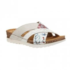 Lotus Ravenna White Slip On Flat Sandals