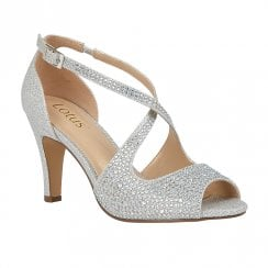 Lotus Rosa Silver Diamante Open-Toe Sandals Shoes