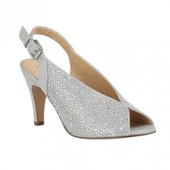 Lotus Calista Silver Diamante Peep Toe Heeled Sandals