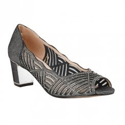 Lotus Immy Pewter Diamante Heeled Peep Toe Shoes