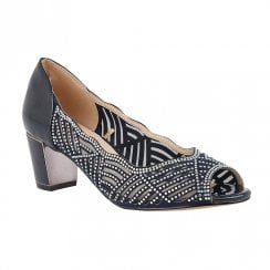 Lotus Immy Navy Diamante Heeled Peep Toe Shoes