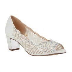 Lotus Immy Ice White Diamante Heeled Peep Toe Shoes