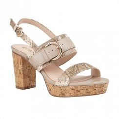 Lotus Romilly Natural Snake Heeled Slingback Sandals