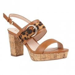 Lotus Romilly Tan Leopard Heeled Slingback Sandals