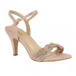 Lotus Jasmine Pink Diamante High Heeled Sandals
