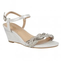 Lotus Josephine Silver Wedge Heeled Sandals