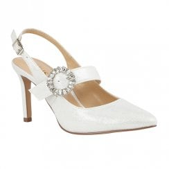 Lotus Mishka Ice White Slingback High Heels