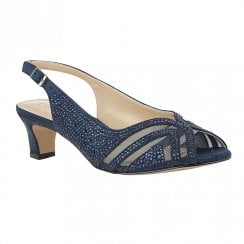 Lotus Glinda Navy Diamante Slingback Low Heel Sandals