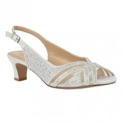 Lotus Glinda Ice White Diamante Slingback Low Heel Sandals