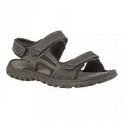 Lotus Douglas Black Leather Mens Velcro Sandals