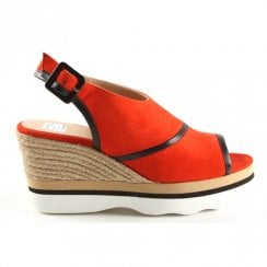 Unisa Leli Slingback Burnt Red Wedge Espadrille Slingback Sandals