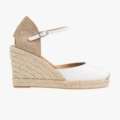 Unisa Castilla White Soft Ankle Strap Wedge Espadrille Sandals