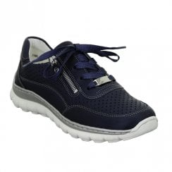 Ara Womens Navy Tampa Lace Up Sneakers Shoes - 12-18506-05
