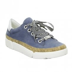Ara Womens Rom Blue Jeans Leather Sneakers