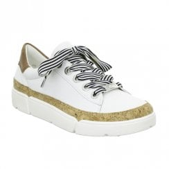 Ara Womens Rom White Leather Sneakers