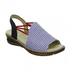 Ara Womens Navy/White Slingback Strap Flat Sandals