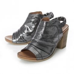 Moda In Pelle Mahlia Pewter Metallic Leather High Heel Peep Toe Sandals