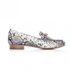 Moda In Pelle Ferna Black/Pink/Turquoise Snake Leather Flat Loafer Shoes