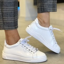 Unisa Womens White Patent Sneakers