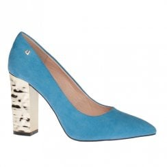 Una Healy Chains Aquamarine Blue Block High Heel Court Shoes