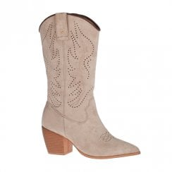 Una Healy This Is It Tawny Beige Cowboy Style Long Cuff Boots