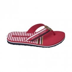 Tommy Hilfiger Womens Red Flat Japanese Style Flip Flops
