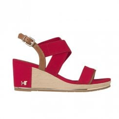 Tommy Hilfiger Womens Red Wedge High Heeled Slingback Sandals