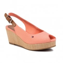 Tommy Hilfiger Wedged Slingback Peep Toe Coral Sandals