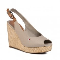 Tommy Hilfiger Wedged Slingback Peep Toe Beige Sandals