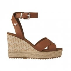 Tommy Hilfiger Jute High Heel Wedge Cognac Leather Sandals