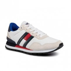 Tommy Hilfiger Mens White Suede Color Block Sneakers