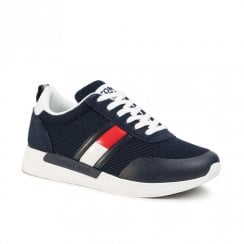 Tommy Hilfiger Mens TH Flex Navy Suede Mesh Mix Sneakers