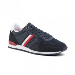 Tommy Hilfiger Mens Navy Leather Lace-Up Sneakers