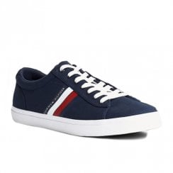 Tommy Hilfiger Mens Desert Sky Navy Cotton Lace Up Sneakers
