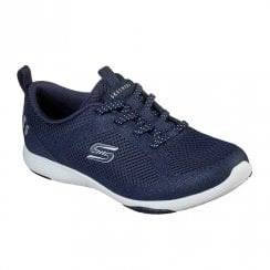Skechers Womens Washable Navy Knit Fabric Sneakers