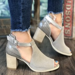 Nero Giardini Taupe Leather Suede Block Heel Peep Toe Bootie