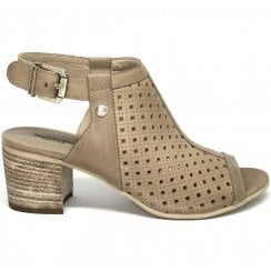 Nero Giardini Tan Leather Perforated Block Heel Peep Toe Bootie