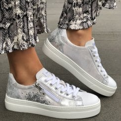 Nero Giardini Womens Silver Metallic Leather Sneakers