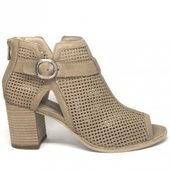 Nero Giardini Tan Leather Perforated Block Heel Open Toe Ankle Boot