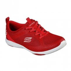 Skechers Womens Lolow Red Knit Fabric Sneakers