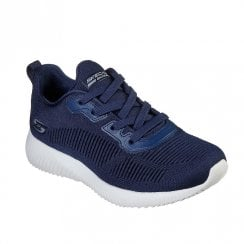 Skechers Womens Bobs Sport Squad Tough Talk Navy Sneakers