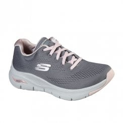 Skechers Womens Arch Fit Sunny Outlook Grey Knit Mesh Sneakers