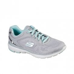 Skechers Womens Flex Appeal 3.0 Grey Mint Soft Knit Sneakers