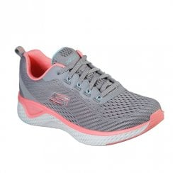 Skechers Womens Solar Fuse Cosmic View Grey Pink Knit Sneakers