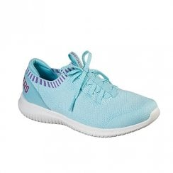 Skechers Womens Ultra Flex Rapid Attention Turquoise Stretch Knit Sneakers