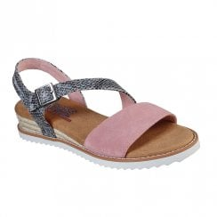 Skechers Womens BOBS Desert Kiss Cactus Rose Suede Flat Sandals