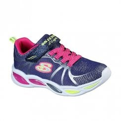 Skechers Kids S Lights Shimmer Beams Sporty Glow Navy Sneakers - Junior Sizes