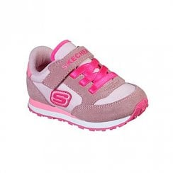 Skechers Infant Retro Pink Suede Nylon Fabric Velcro Sneakers
