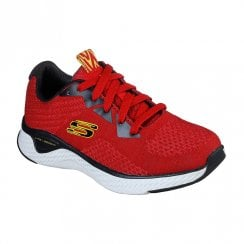 Skechers Kids Solar Fuse Kryzik Red Woven Circular-Knit Sneakers
