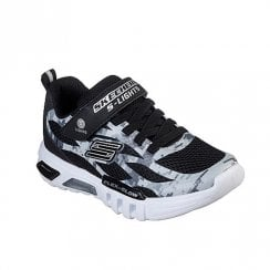 Skechers Kids Lights Flex-Glow Taren Black Grey Camouflage Mesh Sneakers